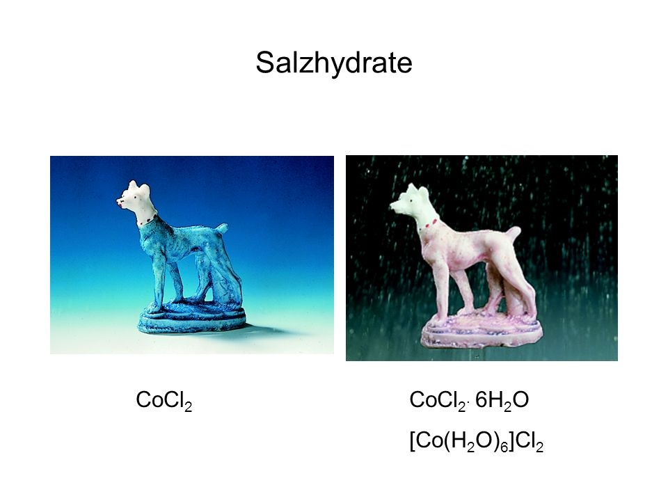 Salzhydrate CoCl2 CoCl2. 6H2O [Co(H2O)6]Cl2